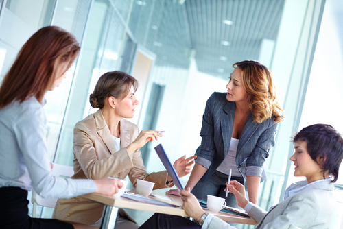 business woman human resources meeting training